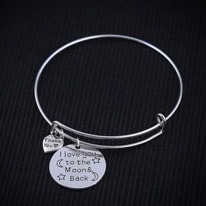 Jewelry - I Love You To Moon & Back' Silver Bangle Bracelet
